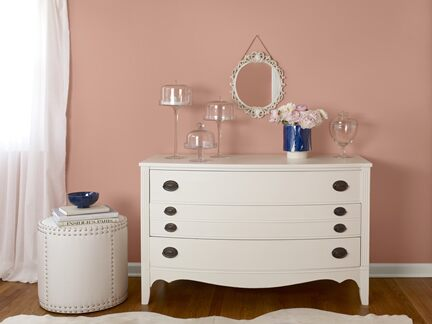 Benjamin Moore Color Trends 2013 New Traditional coral bedroom vignette