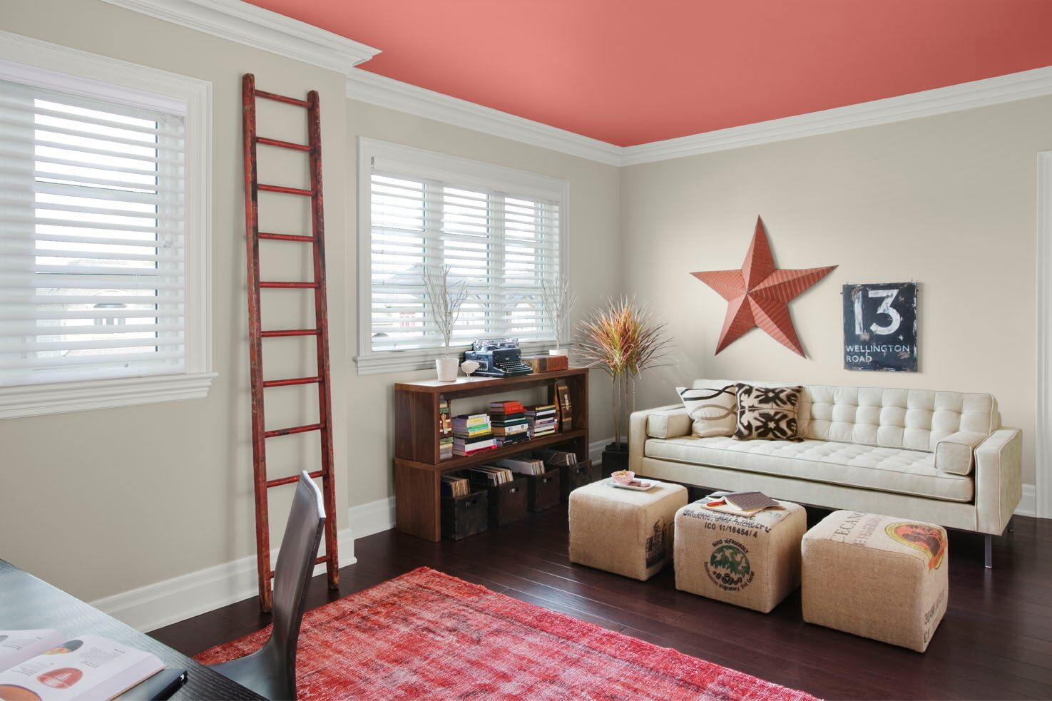 Red Colour Wall: Benjamin Moore Revere Pewter