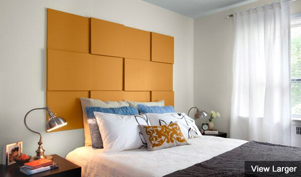 Painted bedroom headboard.
