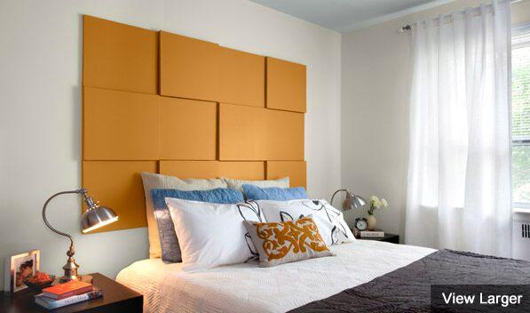 Painted bedroom headboard.