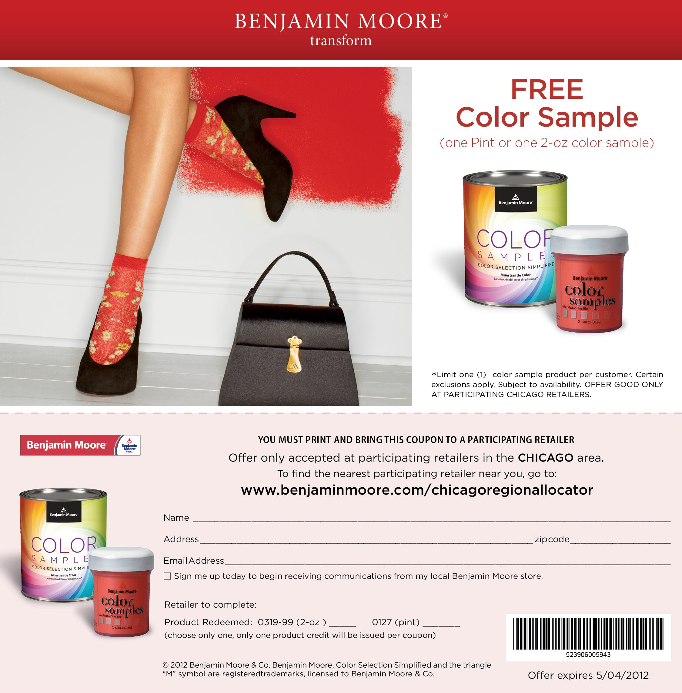 photo about Benjamin Moore Printable Coupon identified as Absolutely free Benjamin Moore Pint Coloration Pattern For Chicago Citizens