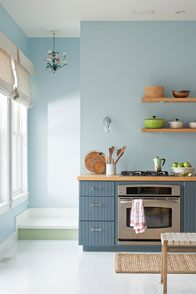 Benjamin Moore Colour of the Year Breath of Fresh Air in kitchen
