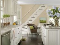 Benjamin Moore in Clay Beige and White Dove