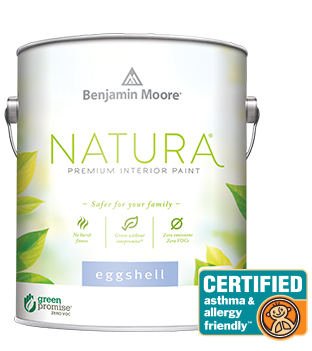 Natura environmentally friendly paint from Benjamin Moore contains no VOCs, no emissions, and no harsh fumes.