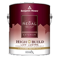 Mazzone Paint Center Regal Select Exterior High Build is a thick, high-build, 100% acrylic formula that bridges small cracks and voids in fewer coats.boom