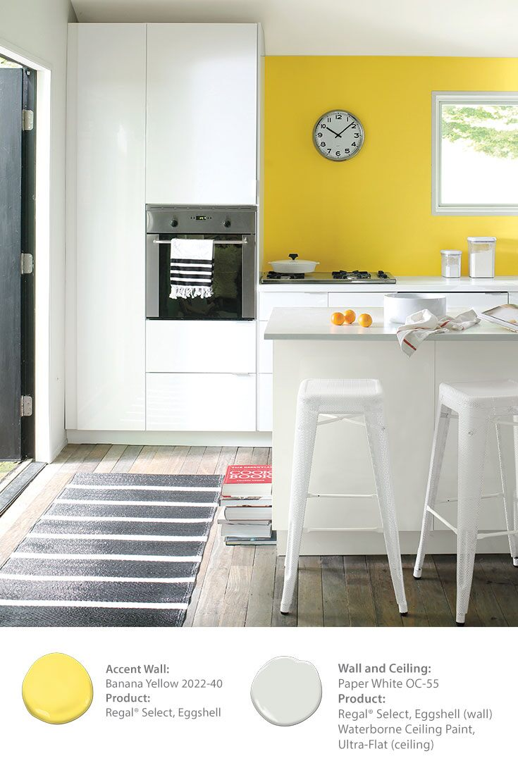 Benjamin Moore Banana Yellow 2022 40 Regal Select Eggshell Paper White Oc 55